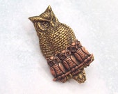 Baby Owl Brooch, Owl Pin, Bird Pin, sweater pin, owl shawl pin, woodland, birds, owls, copper, gold