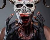 Skull Mask Long Horns (bone finish)