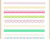 ON SALE Digital border, border frames clipart, digital scrapbooking border. B-02 pink green, instant download