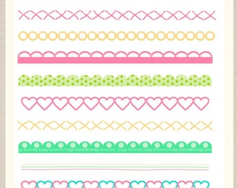 ON SALE Digital border, border frames clipart, digital scrapbooking border. B-02 pink green, instant download
