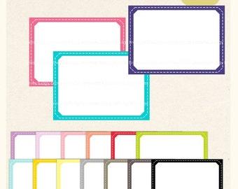 ON SALE Square Stitch Line Frame Clip Art / Frame Clip art, Label Tag Rectangle Frame, Chidren, Digital Scrapbooking frame, blue, pink  A-92