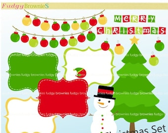 ON SALE Christmas Digital Frame Clip Art _ Red Green Frame, Christmas tree,Bauble Clip Art, Digital scrapbooking, F-01