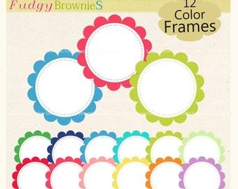 ON SALE Digital frame, circle frames clipart, white background frame, digital scrapbooking frames.A-163 , Instant Download