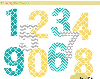 ON SALE Digital clip art  set , numbers , number 1 to 10 , for invites, cards, scrapbooking , polka dots , INSTANT Download