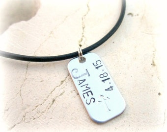 Boys First Communion Gift. Boys Leather Necklace. Personalized Mens Necklace.Mens Dog Tag Leather Necklace. Boys Cross Necklace.Gift for Boy