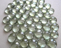 100 Glass Gems - Clear White - Mosaic Supplies Floral/Candle Displays - Half Marbles/Cabochons/Glass Nuggets
