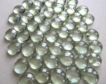 100 Small Glass Gems - Clear White - Mosaic Supplies Floral/Candle Displays - Half Marbles/Cabochons/Glass Nuggets