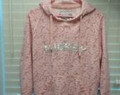 Vintage 80s 90s Mickey Pink Walt Disney World  Hoodie M Silver Rare flannel lining Made in Thailand medium