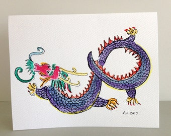 Dragon from the Prayer Flag, a hand painted card to benefit Nepal