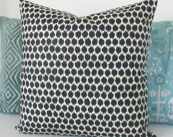 Black and cream ikat dots decorative pillow cover