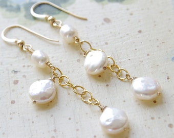 Long Pearl Earrings 14kt Gold Filled White Freshwater Pearl Bridesmaid Earrings Wedding Jewelry Pearl Earrings Gold Pearl Jewelry