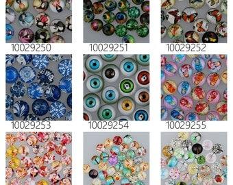 50PCS 14mm Mixed Round Flat Back Handmade Photo Glass Cabochons 100292