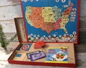Mid Century Board Game - Game of The States, Milton Bradley, Kitsch Vintage Board Game, Its Game Night, Tech Free Night, Put Away the Phone!