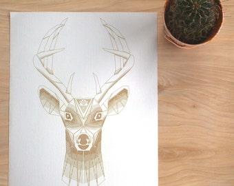 OH DEER | Geometric Animal Print, Laser Etched Art Print