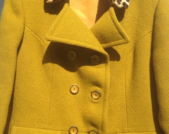 Vintage Wool Coat with Leopard Cuffs and Collar