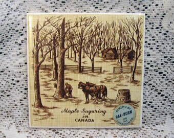 Vintage Canada Maple Syruping Tile Textured Rae-Burn