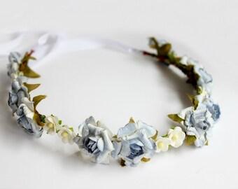 Blue and Ivory Flower Crown. Floral Crown, Headpiece Bohemian. bridemaids, wedding hair crown, rustic crown, bridal hair Accessories,