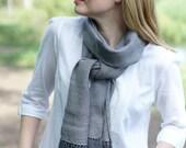 Handwoven scarf women gray wool autumn fashion silk cashmere