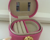 Gorgeous Vintage NEVER USED Pink Leather Locking Jewelry Travel Case with KEY Mini Suitcase Mini Purse Bag Box- Birthday Gift Her Mother