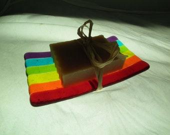 Rainbow Fused Glass Soap Dish, Handmade Fused Glass, Rainbow Glass, Soap Dish, Rainbow Striped