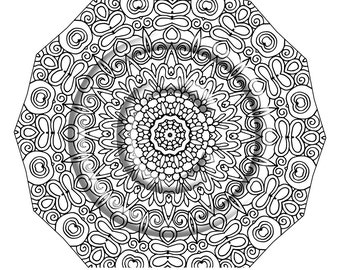 instant pdf download coloring page hand drawn zentangle inspired poof psychedelic kaleidoscope mandal hippie abstract zendoodle by kat