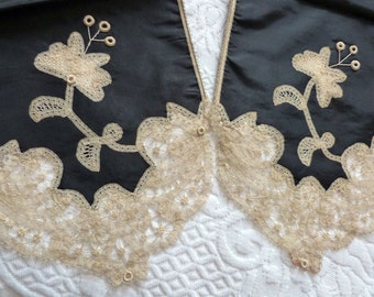 Antique French Victorian shawl scarf wrap w handmade lace, black 1900s Victorian Steampunk Gothic clothing w needle lace flowers on satin