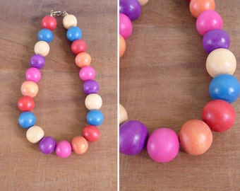 Vintage 80's 'Clown Collar' Wooden Bauble Bead Necklace
