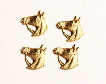 Vintage Brass Horse Findings (4x)