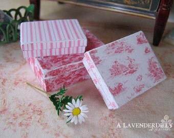 PDF Pink Toile Box Set for Dollhouse Miniature 1/12 Scale DIGITAL DOWNLOAD