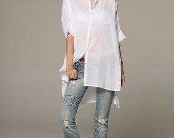 Spring Half Sleeve Dress Shirt Loose Fitting Blouse Long Shirt Dress in White - NC561