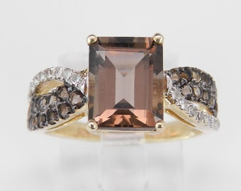Diamond and Emerald Cut Smokey Topaz Engagement Promise Ring Yellow Gold Size 5.25