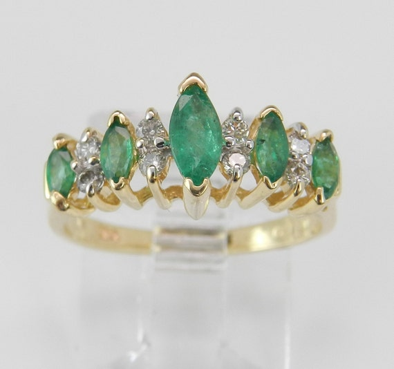 Diamond and Green Emerald Wedding Ring Anniversary Band 14K Yellow Gold Size 4.75