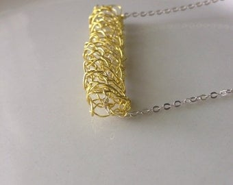Bar Necklace Knit Crochet Wire Lace Yellow Modern