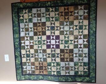 Batik Stars Wall Quilt, Earth tone Batik Quilt, Stars Quilt 0515-02*