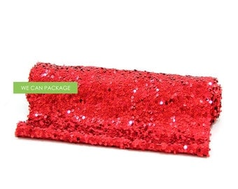 "RED Sequin Table Runner 12"" x 96"""