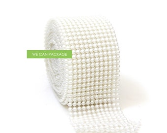 "Pearl Mesh Wrap Table Runner Roll Ribbon Diamond Mesh Rhinestone Wedding Vase Decoration 4.5"" x 10 Yards"