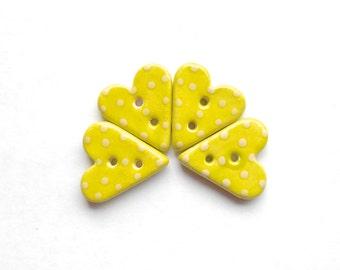 Lime Polka Dot Heart Button Handmade Ceramic X 1