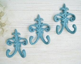 3 Fleur de lis Cast iron Hook,Towel Hook, Jewelry hook, Painted Wall hook