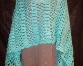 Robin Egg Blue Crochet Stole Wrap - Prayer Shawl - Bridal Shawl