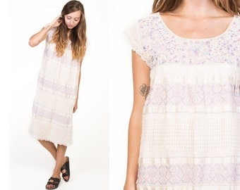Vintage 70's White Lace Floral Embroidered Bohemian Dress