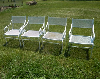 4 nice shape vintage mid century 1960s 1970s russell WOODARD SALTERINI iron and mesh patio chairs pick up only