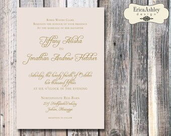 Peach and Gold Wedding Invitation - 5 X 7 - Multiple Lace Designs (Digital File Version Available)