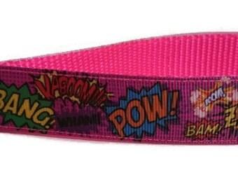 Pink Comic Book Sounds Key Fob Wristlet