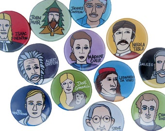 Famous Scientists - Pick your 4 Science Pinback Buttons - Tesla, Curie, Einstein, Sir Isaac Newton, Darwin, Neil Armstrong, Jane Goodall