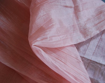 Peach Pleated Sheer Taffeta