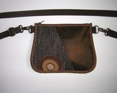 Hip Bag 2in1 small waist tote Vintage old leather pattern Fanny Pack zipper belt pouch  -bike bicycle tote- festival wallet Hipster Brown
