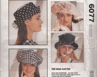 1990s Hats McCalls 6077 Mad Hatter Collection 10 Hat Styles with Assorted Trims and Tie Head Size 22/23/24 Vintage Millinery Sewing Pattern