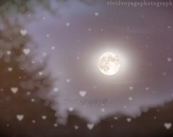 Moon Photograph, Purple Art, Heart Photograph, Romantic Art Print, Night Sky Photo, Nursery Decor, Dreamy Photo, Fine Art Print, Wall Art