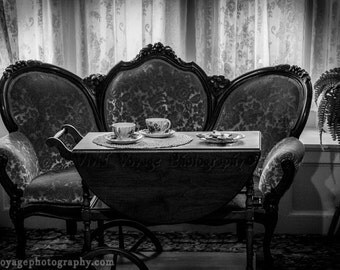 Victorian Settee Photograph, Black and White Art, Still Life Photography, Living Room Art, Vintage Style Home Decor, Parlor, Fine Art Print