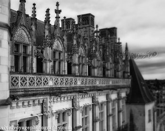 Castle Photograph, French Rooftops, Architecture, Black and White Photo, Medieval Castle, Window Photo, Fine Art Photography Print, Wall Art